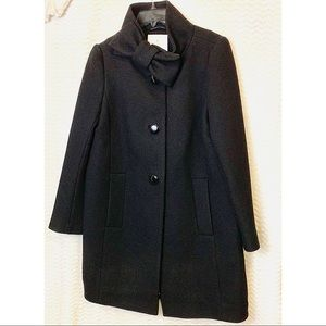 Kate Spade Black Bow Neck Wool Coat Size 6